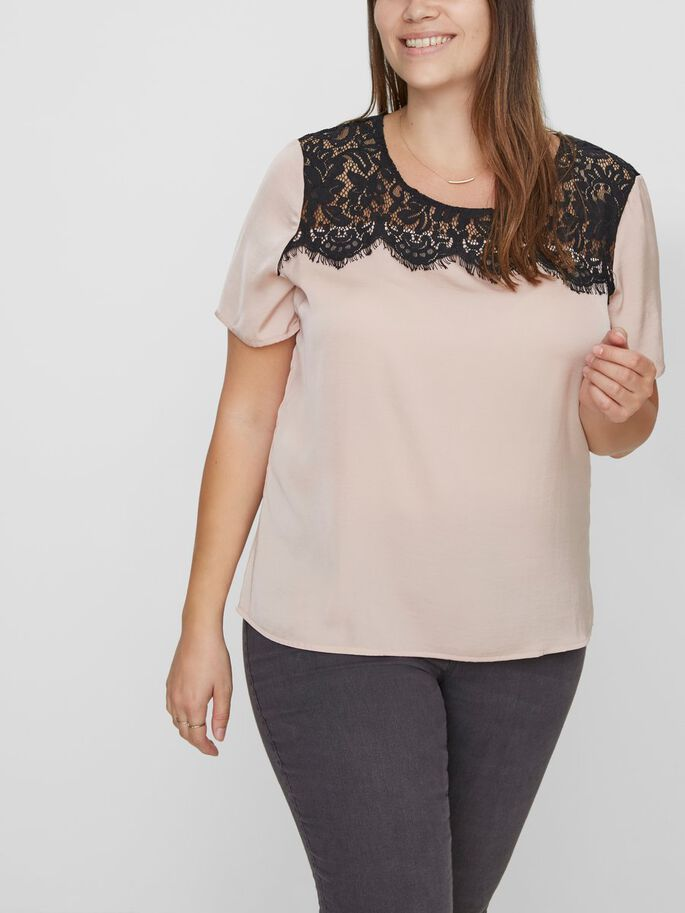 LACE DETAILED SHORT SLEEVED BLOUSE, Mahogany Rose, large