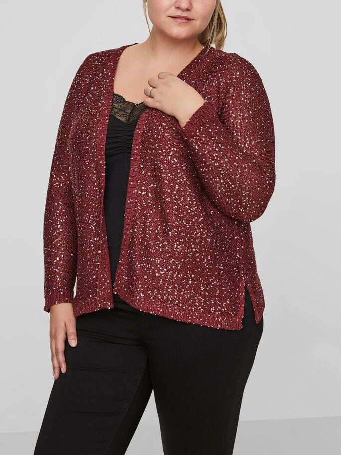 KNITTED CARDIGAN, Zinfandel, large
