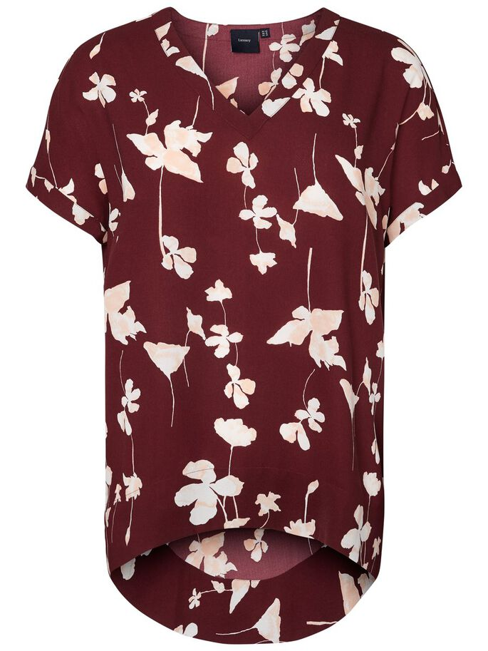 BLOMSTERPRINTET HIGH LOW TOP MED KORTE ÆRMER, Winetasting, large