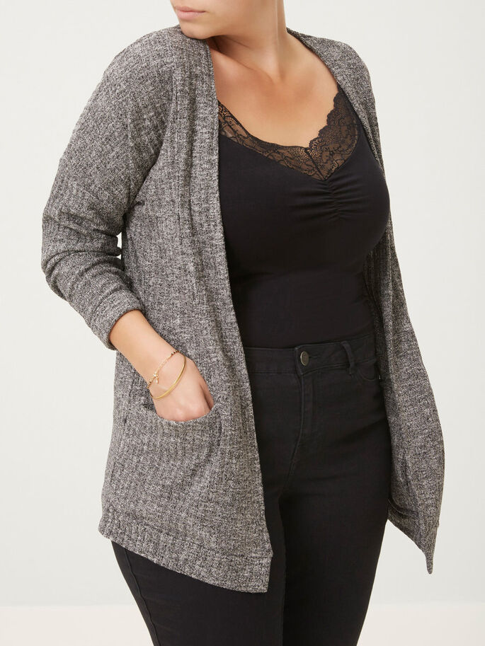 LANGÄRMELIGE STRICKJACKE, Medium Grey Melange, large