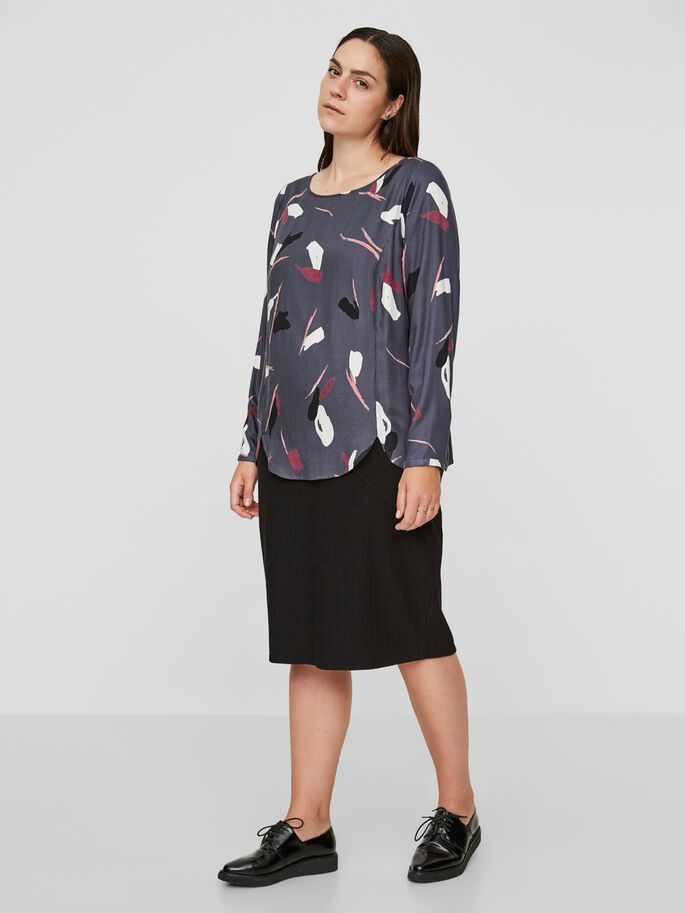 PRINTED LONG SLEEVED BLOUSE, Turbulence, large