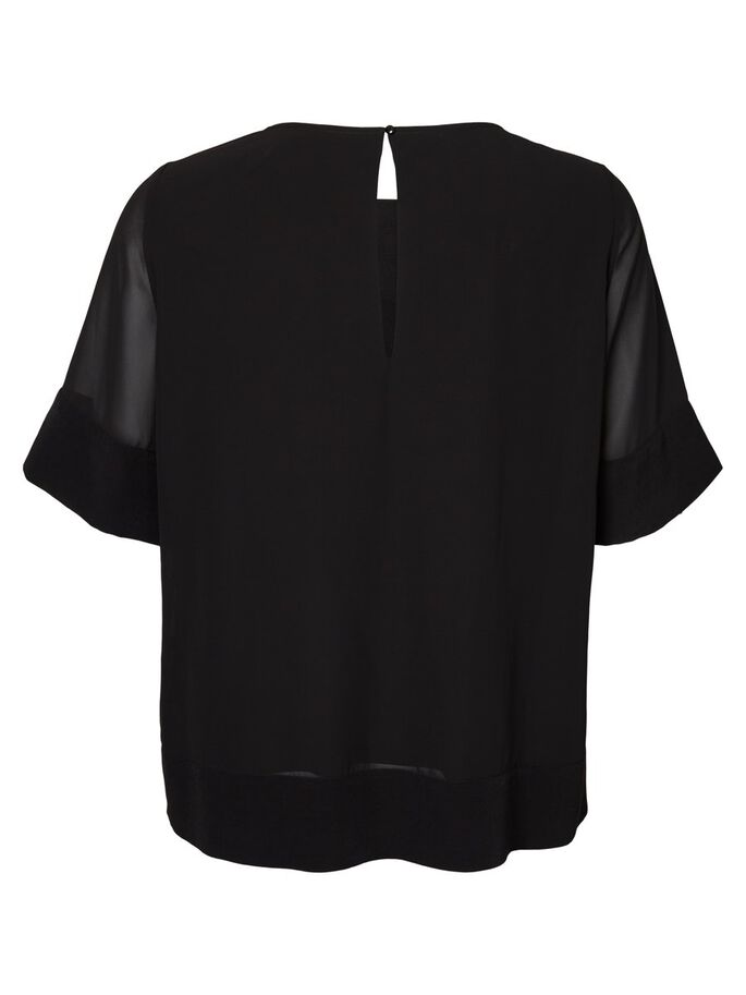 WOVEN 2/4 SLEEVED BLOUSE, Black Beauty, large