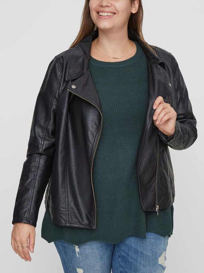LEATHER LOOK JACKET, Black Beauty, large