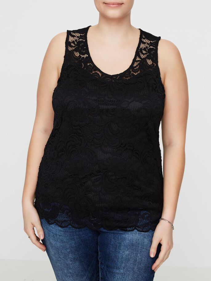 LACE DETAILED SLEEVELESS TOP, Black, large