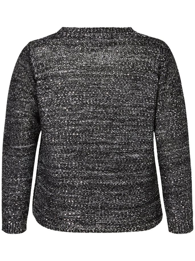 KNITTED SEQUINS BLOUSE, Black, large