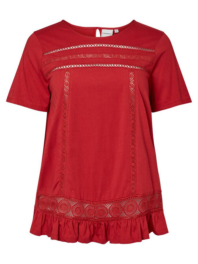 CROCHET DETAILED SHORT SLEEVED TOP, Deep Claret, large