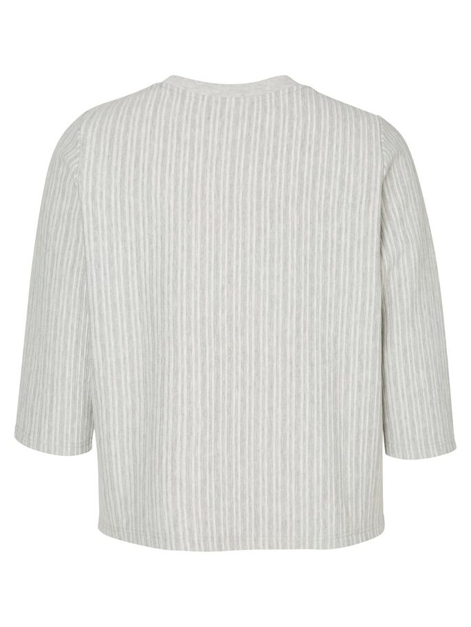3/4-ÄRMAD BLUS, Light Grey Melange, large