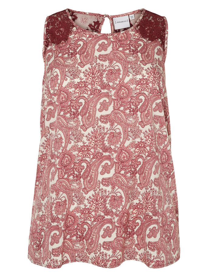 PRINTED SLEEVELESS TOP, Tea Rose, large