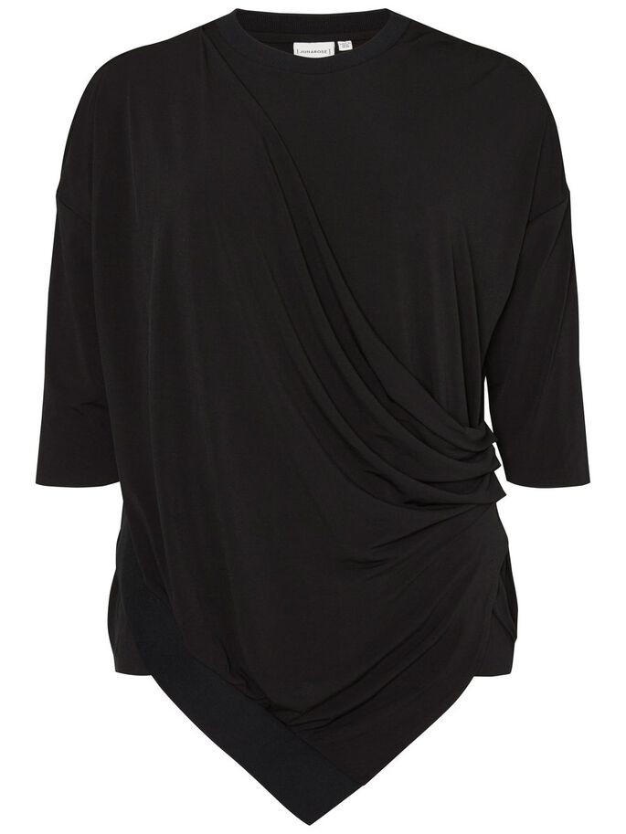 3/4 SLEEVED BLOUSE, Black, large