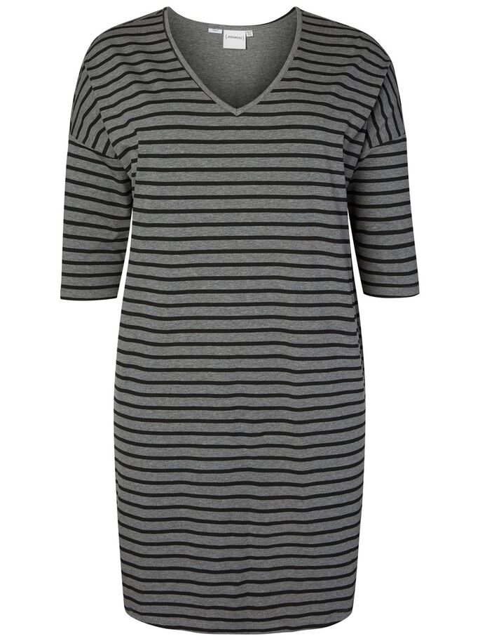 STRIPED DRESS, Medium Grey Melange, large