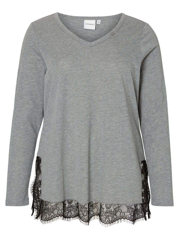 LANGÆRMET BLUSE, Medium Grey Melange, large