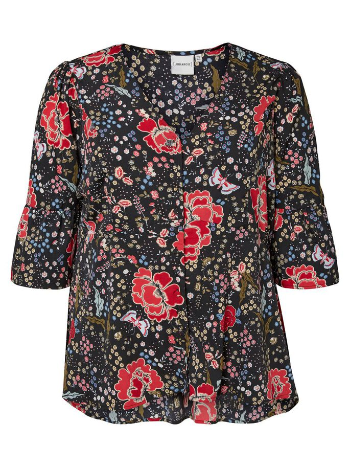 FLOWERED 3/4 SLEEVED BLOUSE, Black Beauty, large