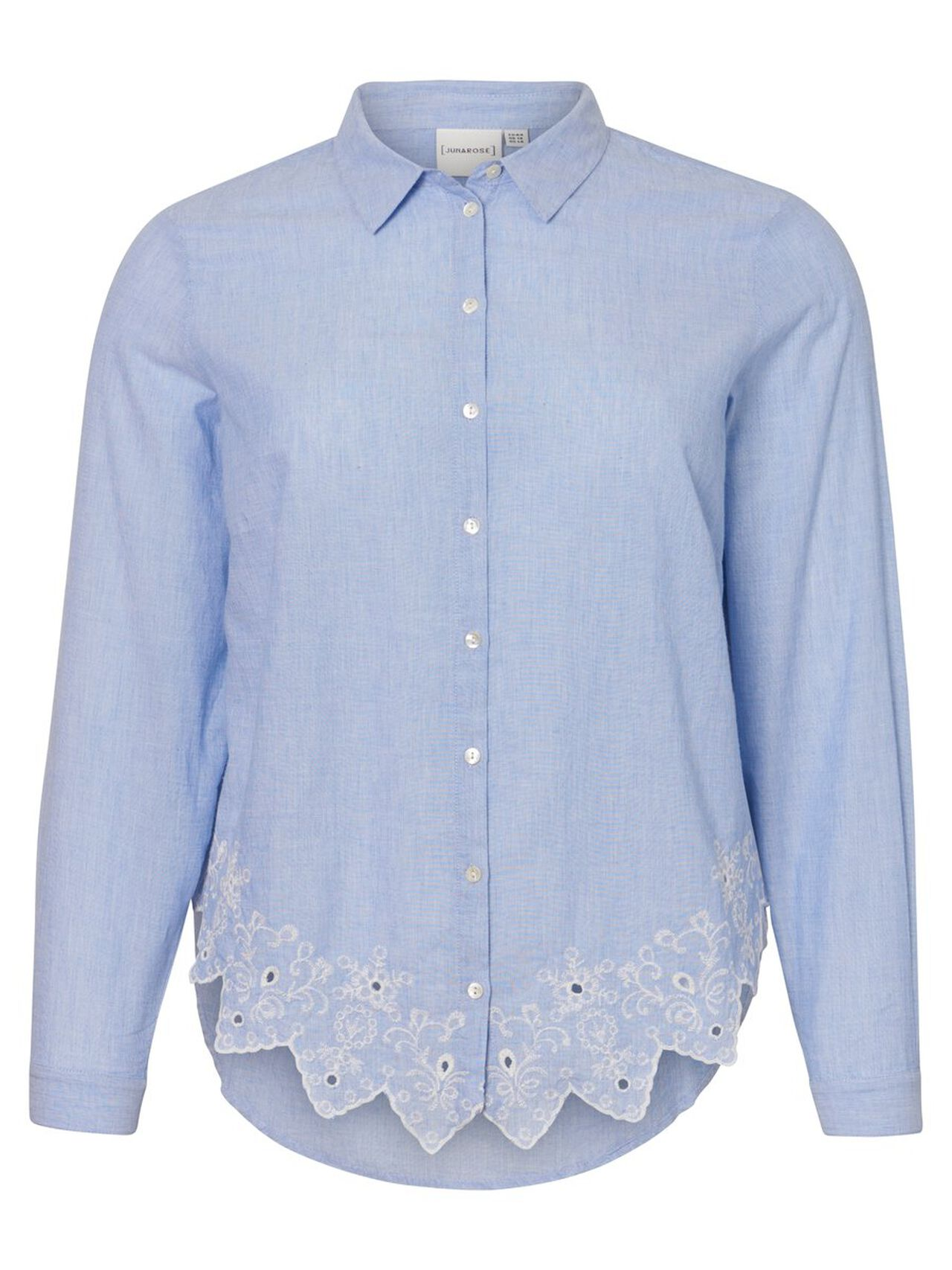 JUNAROSE Crochet Lace Shirt Women Blue