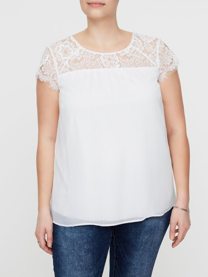 LACE DETAILED SHORT SLEEVED BLOUSE, Snow White, large