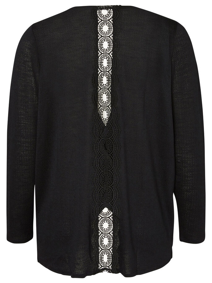 LANGÄRMELIGE STRICKJACKE, Black, large
