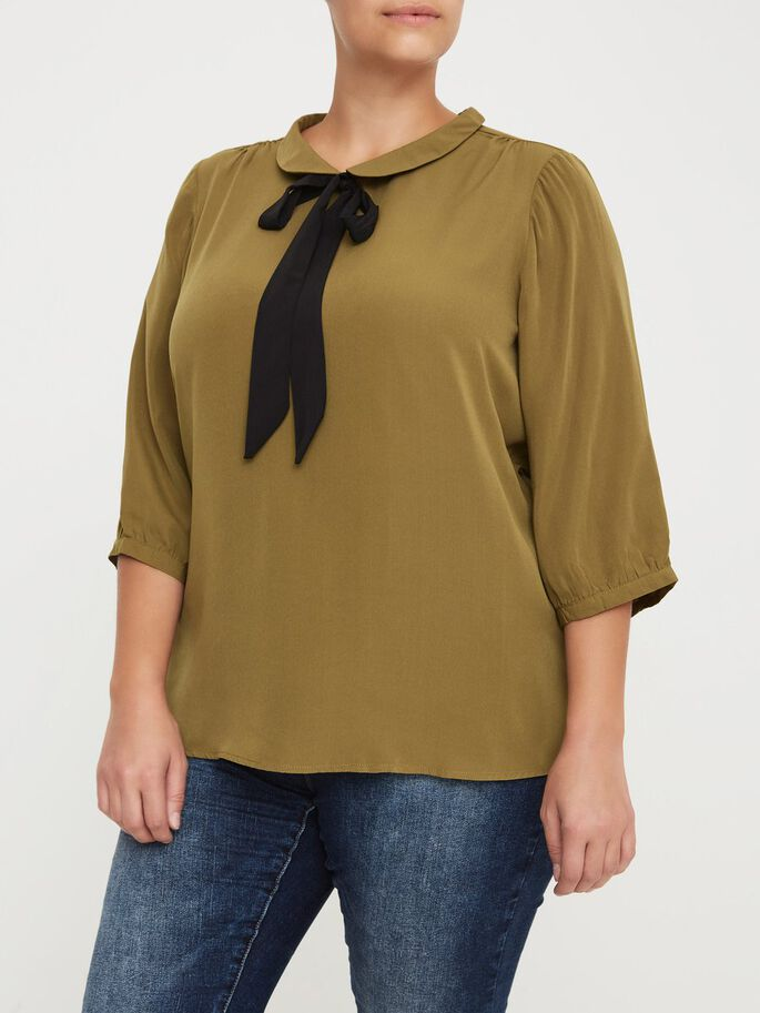 3/4 ÆRMET BLUSE, Fir Green, large