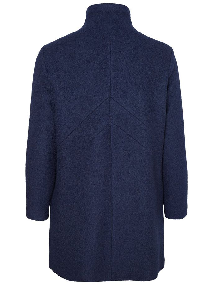 LONG WOVEN COAT, Navy Blazer, large