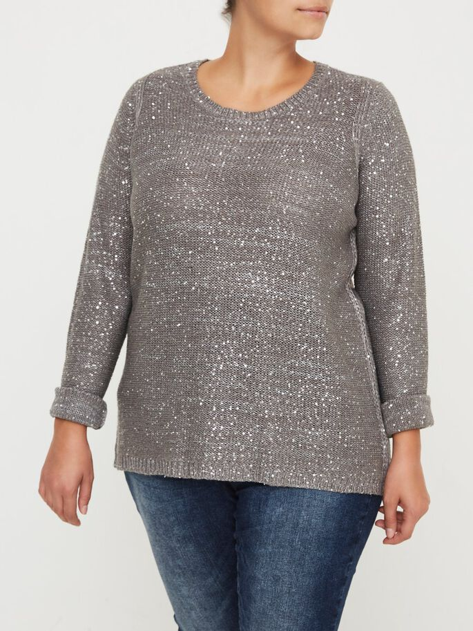 STRIKKET PALJETTER BLUSE, Medium Grey Melange, large