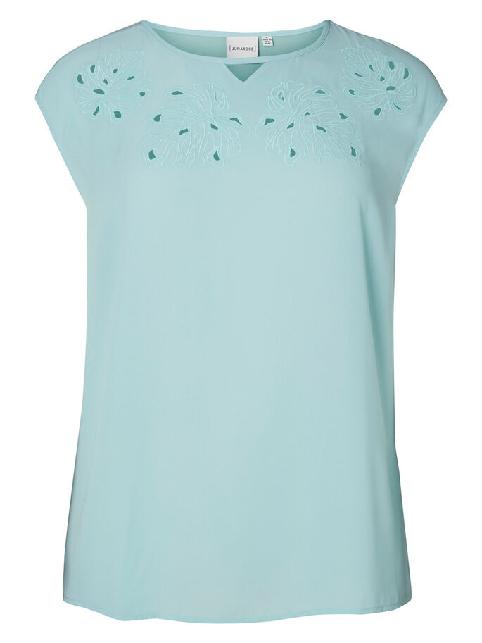 JERSEY SHORT SLEEVED TOP, Pastel Turquoise, large