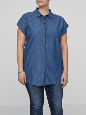 DENIM LOOK SLEEVELESS SHIRT