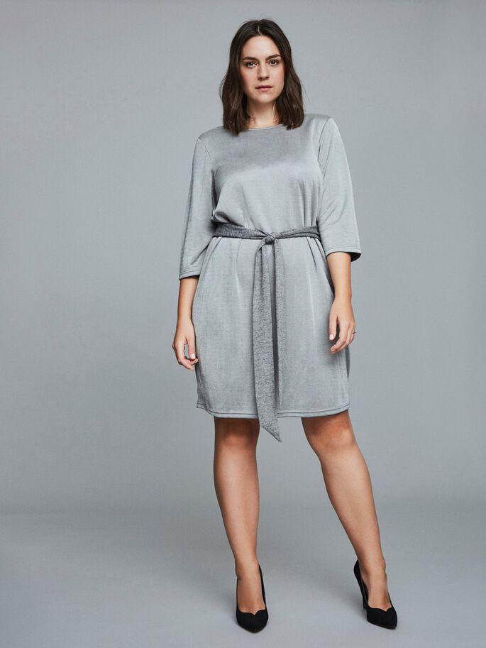 TIE-BELT 3/4 SLEEVED DRESS, Light Grey Melange, large