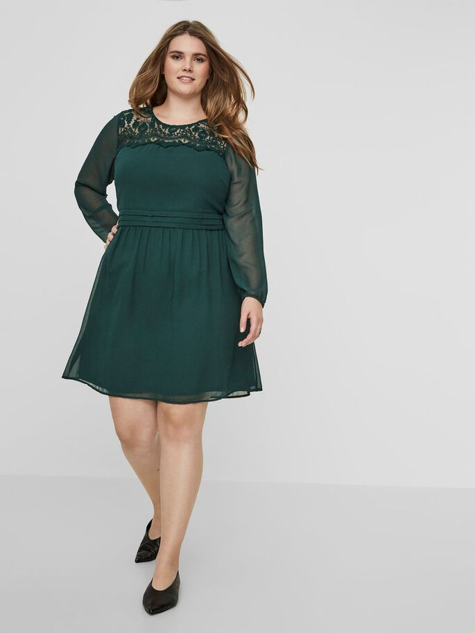 LACE DETAILED LONG SLEEVED DRESS, Green Gables, large
