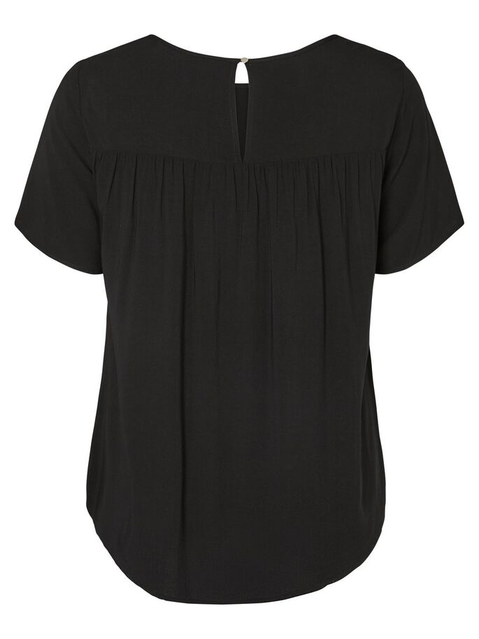 KORTE MOUW BLOUSE, Black, large
