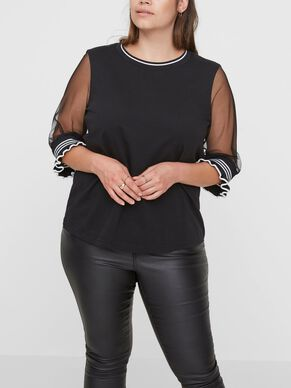 TOP WITH MESH SLEEVES 2/4 SLEEVED BLOUSE