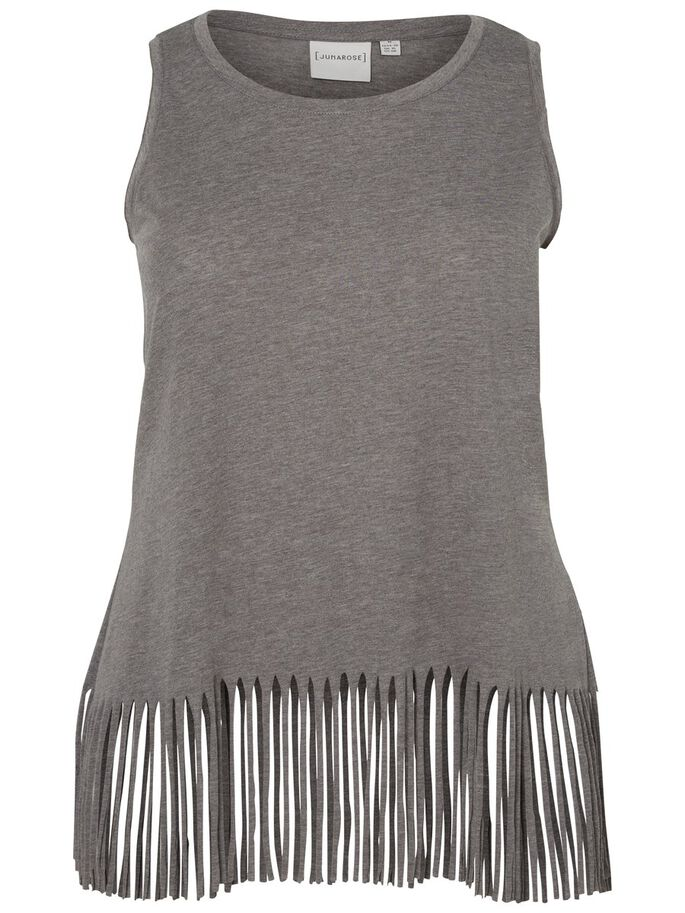 SLEEVELESS BLOUSE, Medium Grey Melange, large