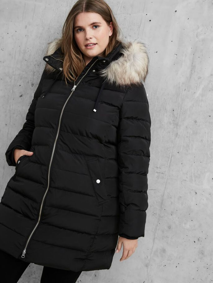 HODDED PUFFER JACKET, Black, large