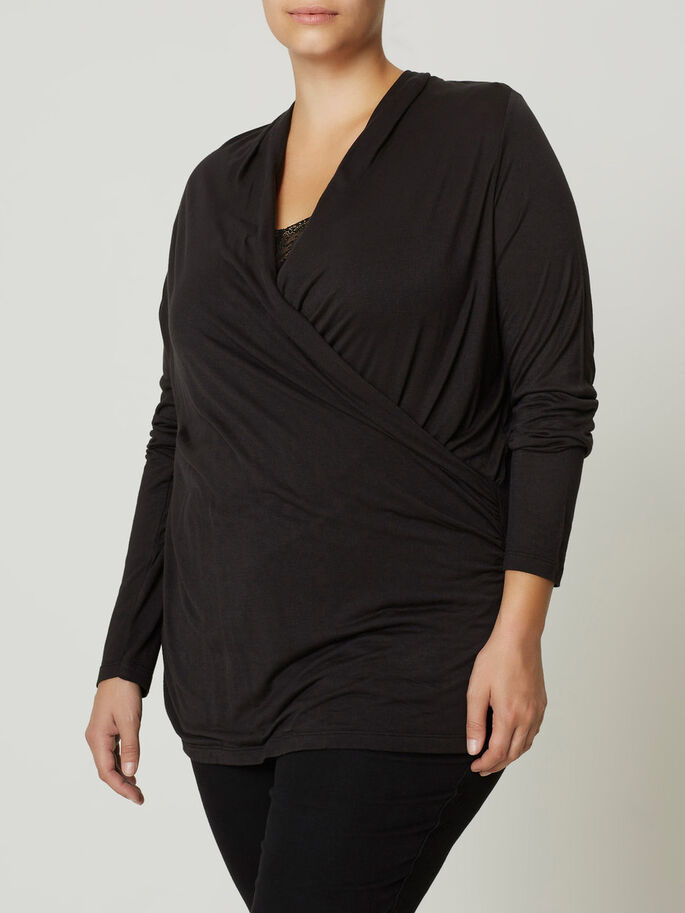 WRAP BLOUSE, Black, large