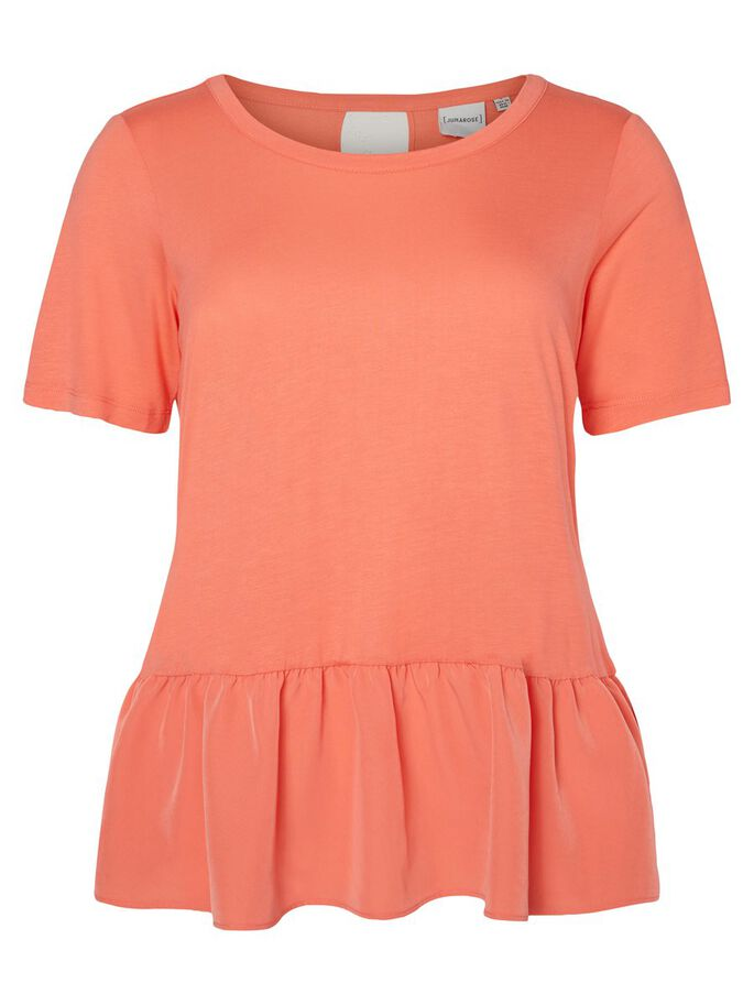 PEPLUM DETAILED 2/4 SLEEVED BLOUSE, Georgia Peach, large