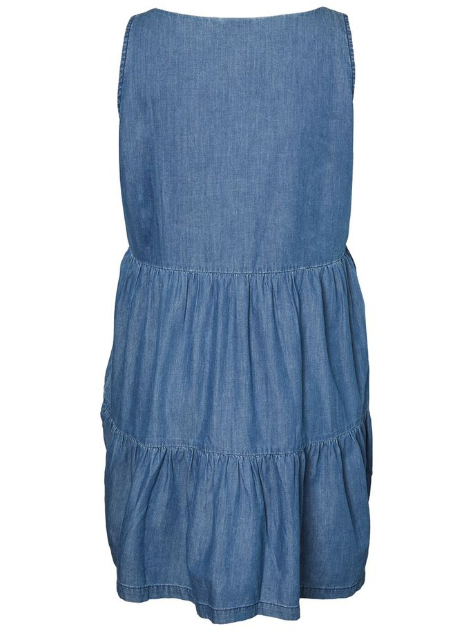 DENIM LOOK SLEEVELESS DRESS, Medium Blue Denim, large