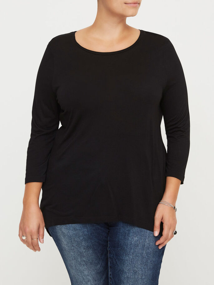 HIGH LOW BLOUSE, Black, large