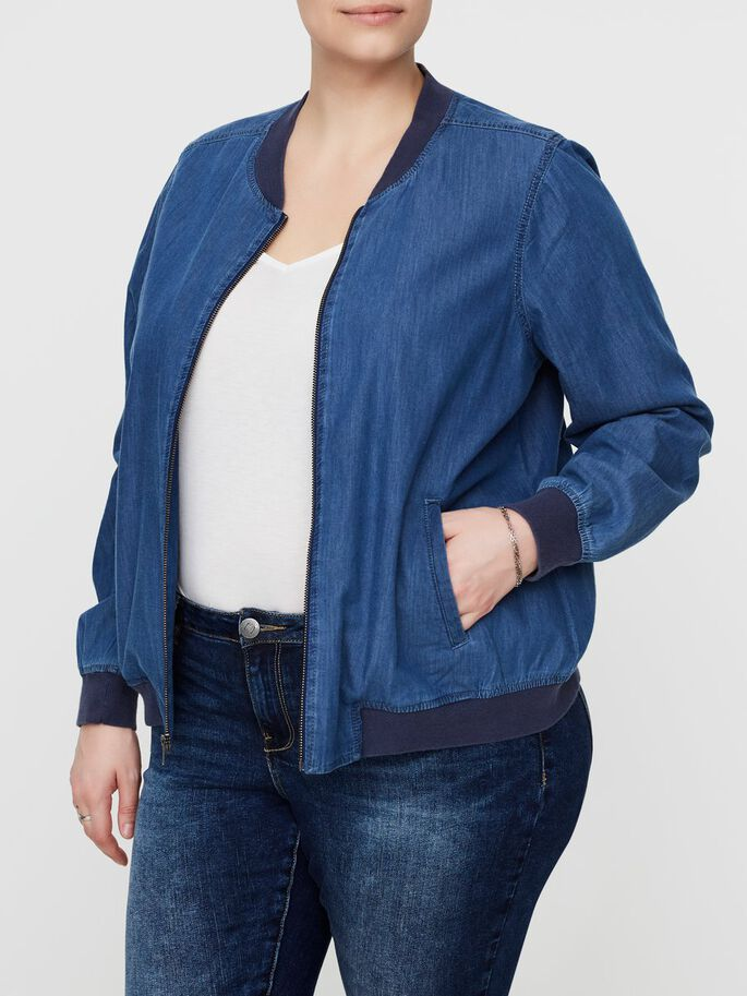 LANGÆRMET JAKKE, Medium Blue Denim, large