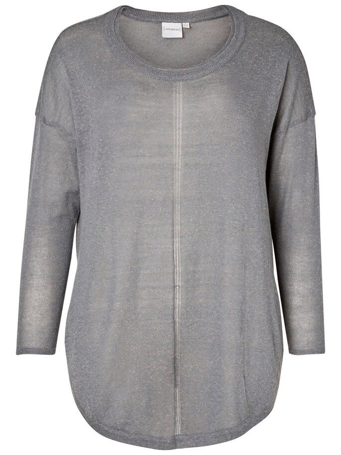 STRIKKET PULLOVER, Medium Grey Melange, large