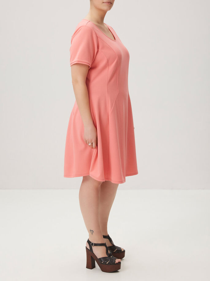 MANCHES COURTES ROBE, Tea Rose, large