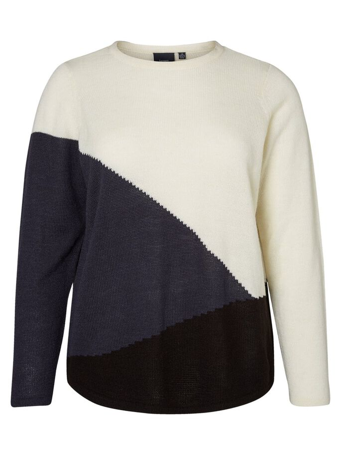 COLOR BLOCKED STRIKKET PULLOVER, Snow White, large