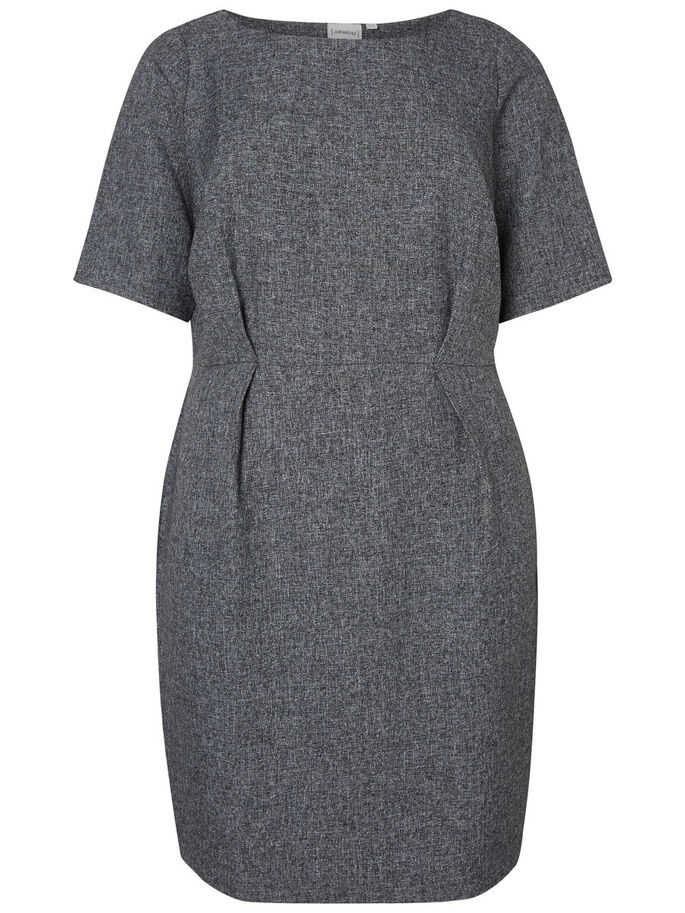 2/4 SLEEVED DRESS, Light Grey Melange, large