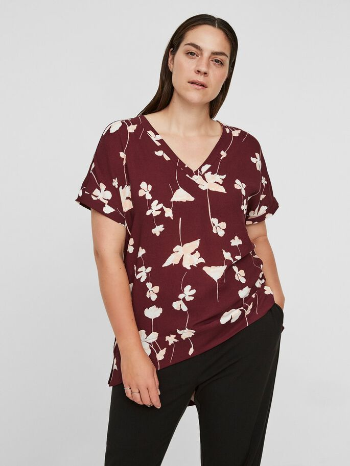 BLOMSTERPRINTET HIGH-LOW KORTERMET TOPP, Winetasting, large