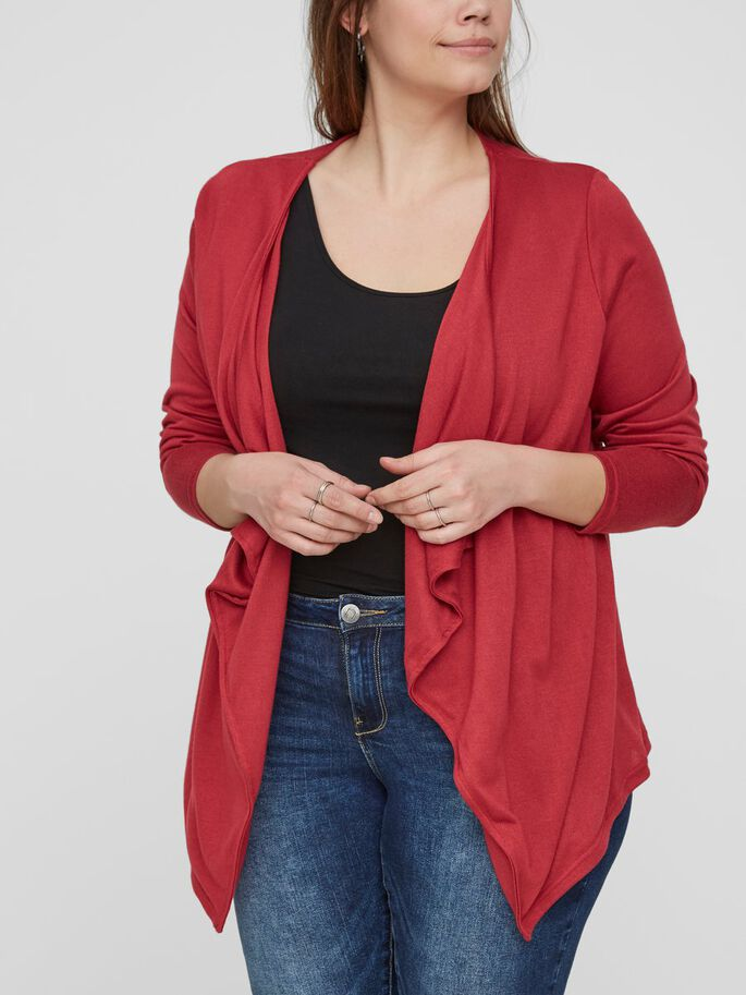DRAPING DETAILED CARDIGAN, Deep Claret, large