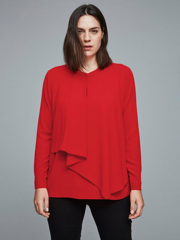 FLOUNCE DETAILED BLOUSE, Flame Scarlet, large