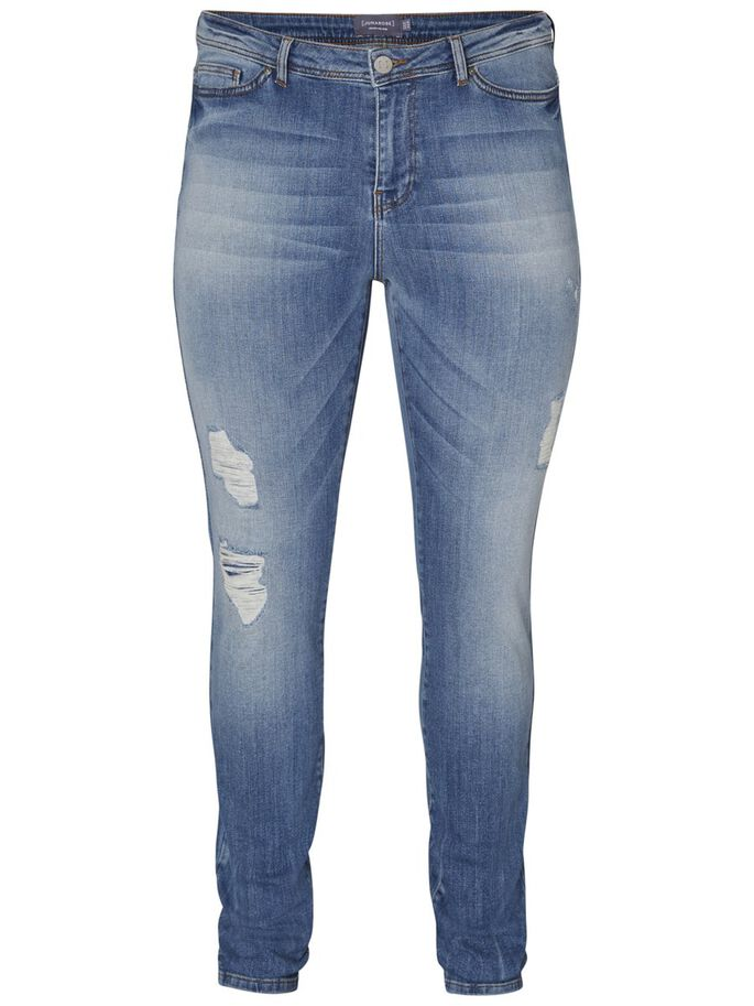 DESTROYED JEANS, Medium Blue Denim, large