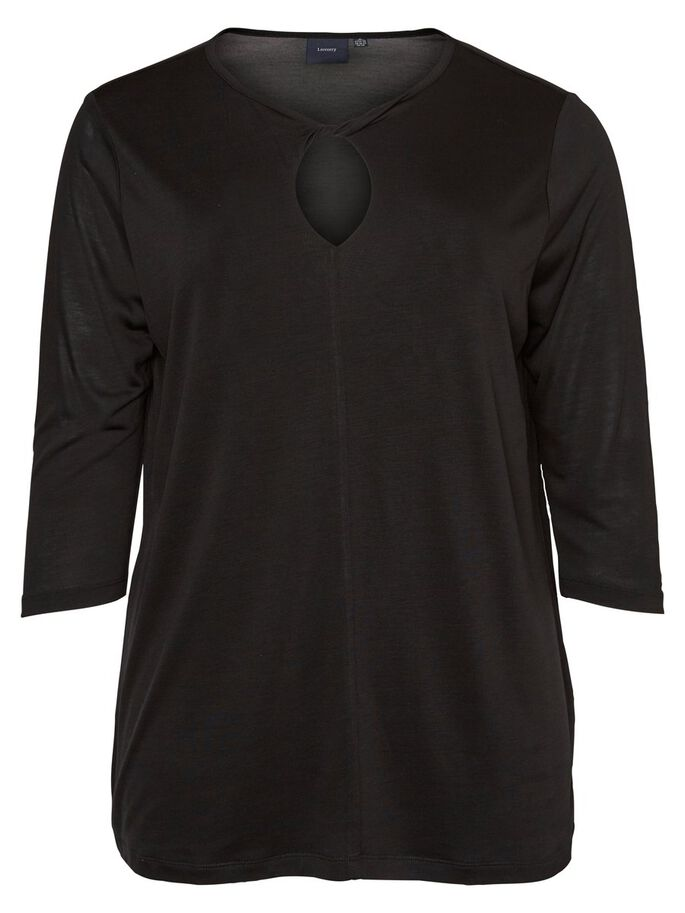 DETALJERT TOPP MED 3/4 ERMER, Black Beauty, large