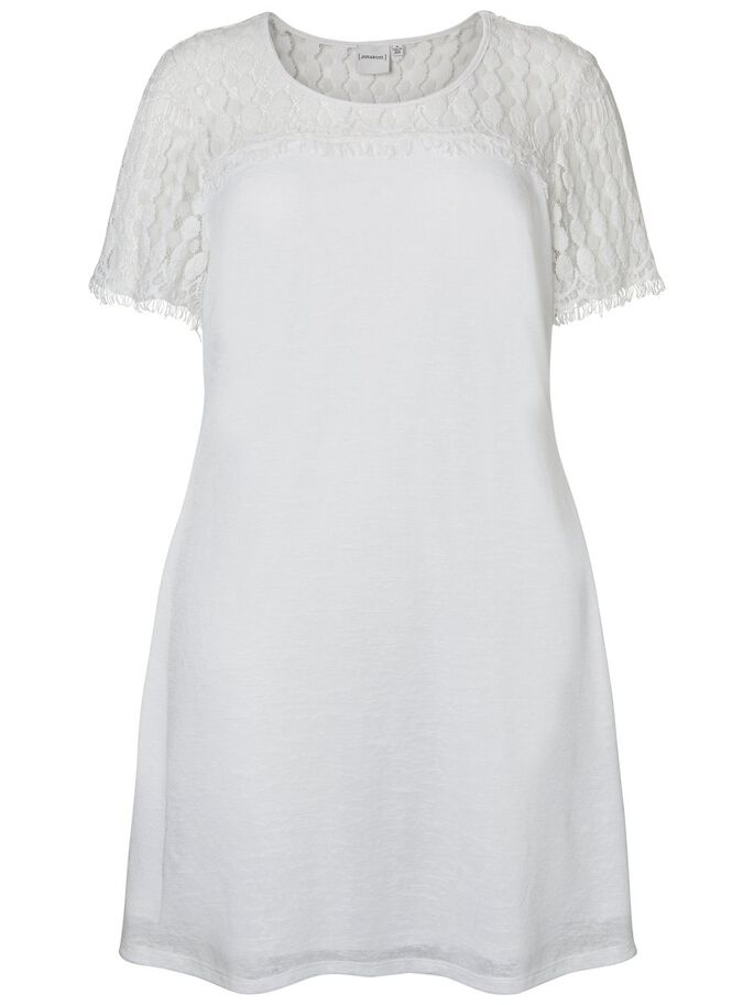 LACE DETAILED SHORT SLEEVED DRESS, Snow White, large