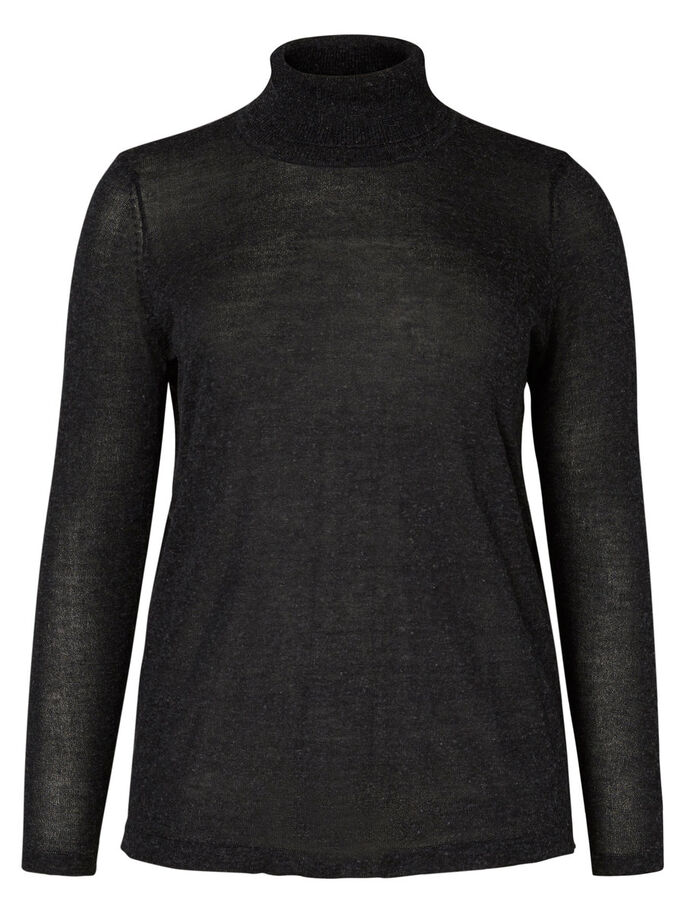 COL ROULÉ BLOUSE, Black, large