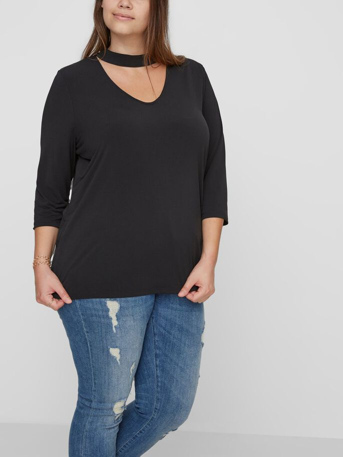 3/4 SLEEVED BLOUSE, Black Beauty, large
