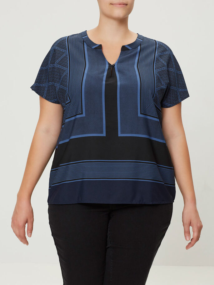 KURZÄRMELIGE BLUSE, True Navy, large