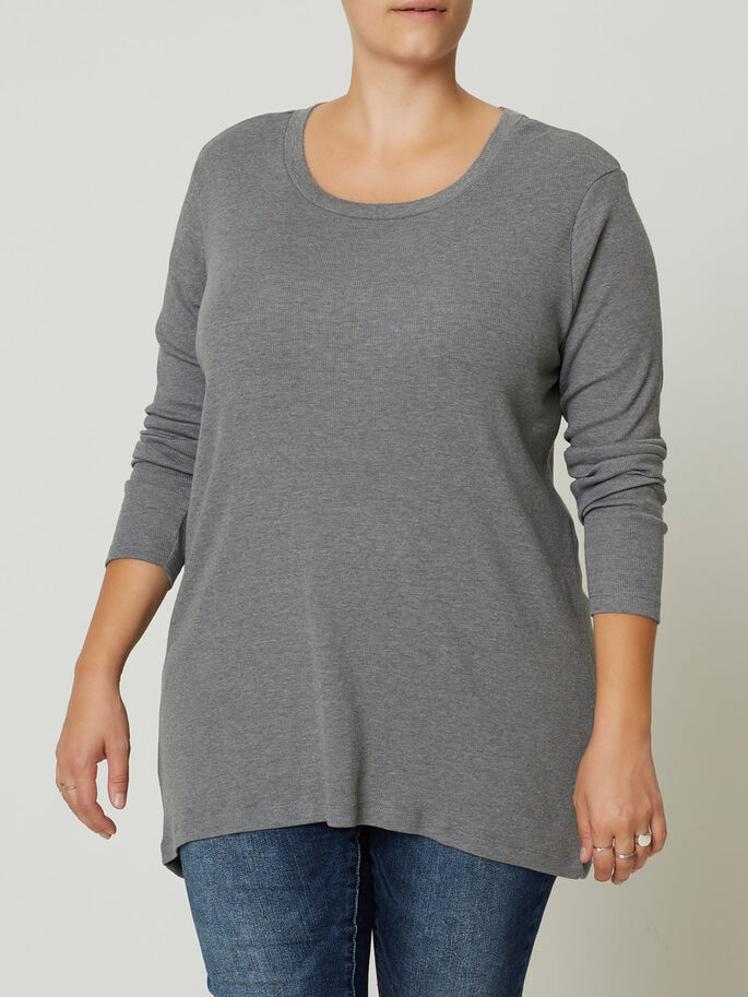 LANGERMET BLUSE, Medium Grey Melange, large