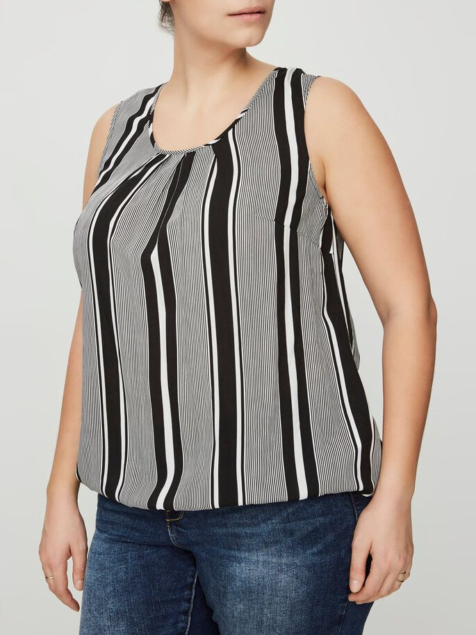 STRIPED SLEEVELESS TOP, Snow White, large